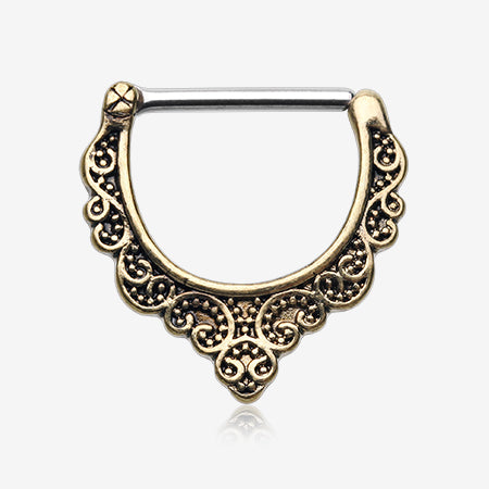 Golden Vintage Eros Filigree Nipple Clicker-Gold