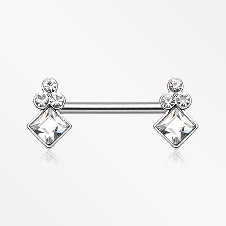 A Pair of Bali Sparkle Nipple Barbell-Clear