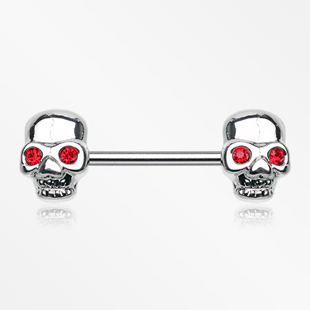 A Pair of Red Eyed Sparkle Skull Nipple Barbell-Red