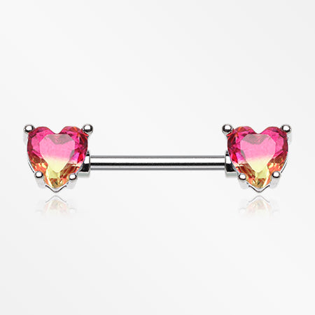 A Pair of Brilliant Bio Tourmaline Sparkle Heart Prong Nipple Barbell-Pink/Yellow