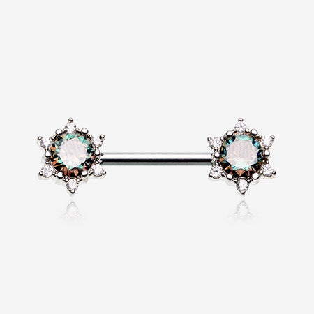 A Pair of Shining Star Glam Sparkle Nipple Barbell-Aurora Borealis/Vitrail Medium