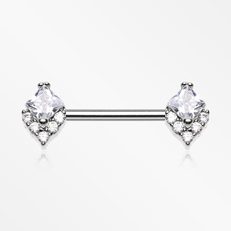 A Pair of Brilliant Sparkle Diamante Nipple Barbell-Clear
