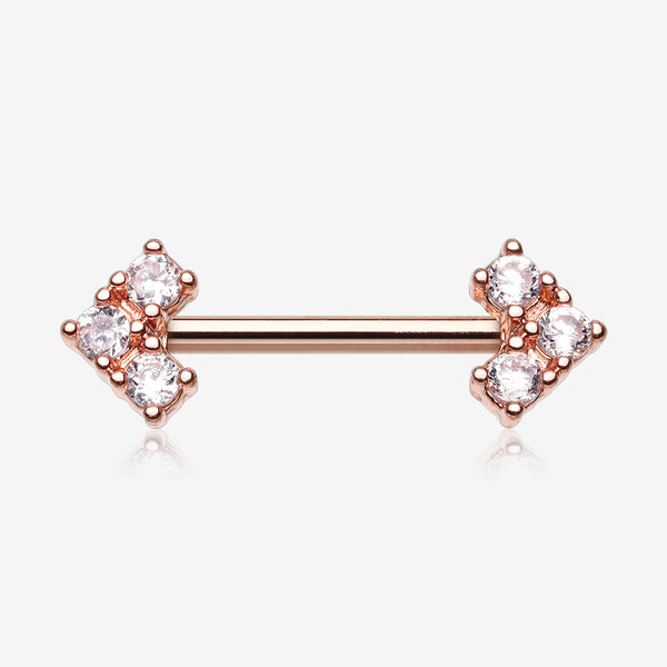 A Pair of Rose Gold Geometric Arrow Sparkles Nipple Barbell-Clear