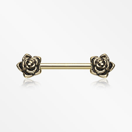 A Pair of Golden Dainty Vintage Rose Nipple Barbell