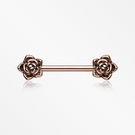 A Pair of Rose Gold Dainty Vintage Rose Nipple Barbell