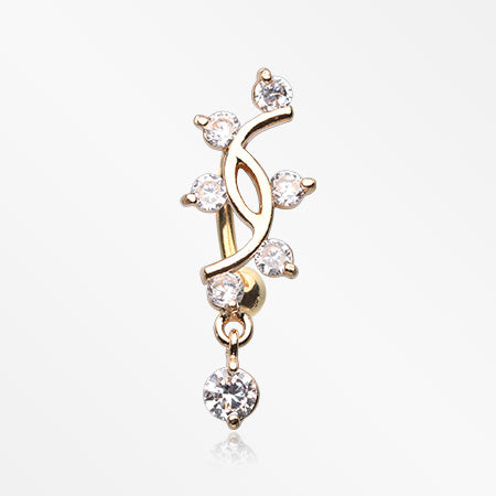 Golden Journey Vine Sparkle Dangle Reverse Belly Button Ring-Clear