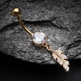 Golden Vintage Leaf Sparkle Belly Button Ring-Clear