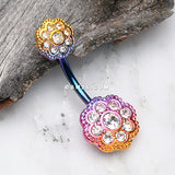 Rainbow PVD Double Sparkle Flower Belly Button Ring-Rainbow/Clear