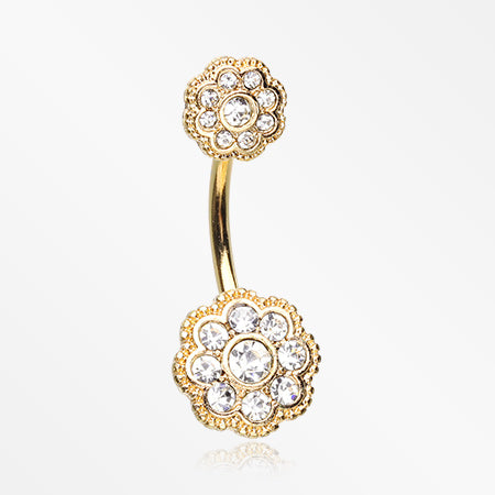 Golden Double Sparkle Vintage Flower Belly Button Ring-Clear