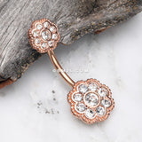 Rose Gold Double Sparkle Flower Belly Button Ring-Clear