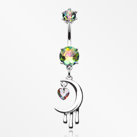 Dripping Crescent Moon Sparkle Heart Belly Button Ring-Vitrail Medium