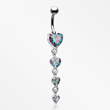 Brilliant Heart Sparkle Cascade Chandelier Belly Button Ring-Vitrail Medium