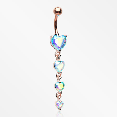 Rose Gold Brilliant Heart Sparkle Cascade Chandelier Belly Button Ring-Blue Aurora Borealis