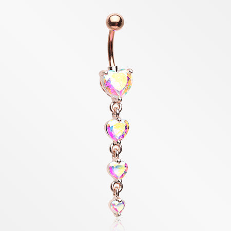 Rose Gold Brilliant Heart Sparkle Cascade Chandelier Belly Button Ring-Pink Aurora Borealis