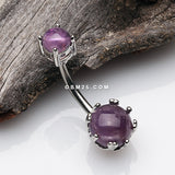 Amethyst Stone Crown Prong Set Belly Button Ring