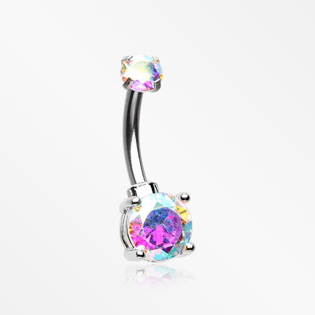 Brilliant Sparkle Internally Threaded Dainty Belly Button Ring-Aurora Borealis