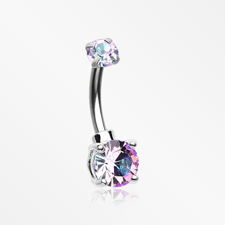 Brilliant Sparkle Internally Threaded Dainty Belly Button Ring-Purple/Rainbow