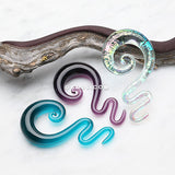A Pair of Serpentine Swirl Glass Hanger Plugs-Teal