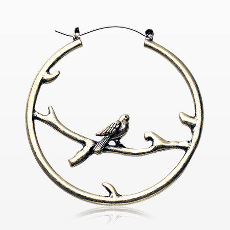 A Pair of Vintage Perched Bird Plug Hoop Earring-Steel
