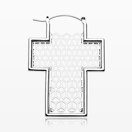 A Pair of Geometric Cross Plug Hoop Earring-Steel