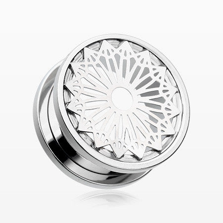 A Pair of Mandala Zen Flower Steel Screw-Fit Tunnel Plug-Steel