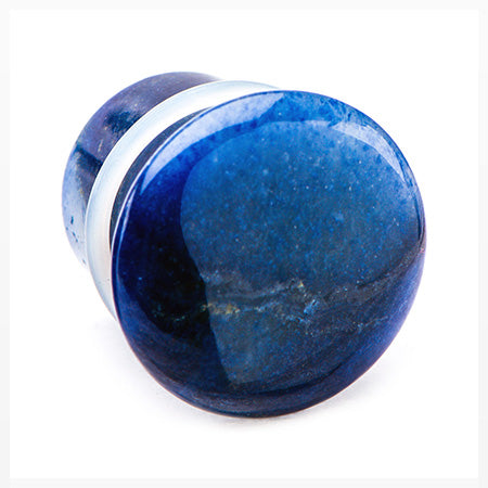 A Pair Of Blue Aventurine Convex Stone Single Flared Plug