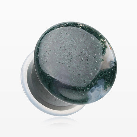A Pair of Moss Agate Convex Stone Single Flared Plug-Green