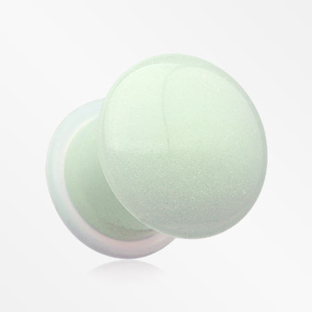 A Pair of Glow in the Dark Synthetic Stone Single Flared Plug-Green