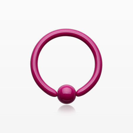 Pastel Ceramic Coated Steel Captive Bead Ring-Purple