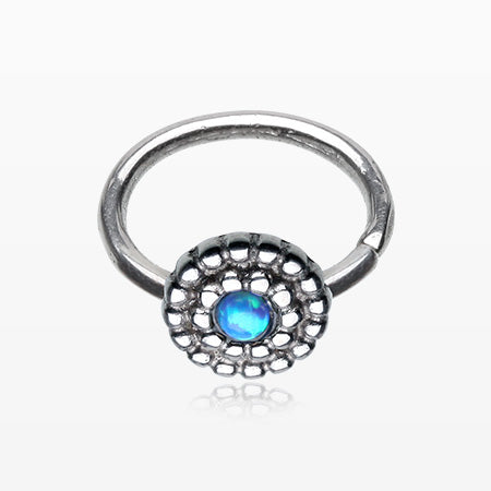Fire Opal Bali Beads Bendable Twist Loop Ring-Blue