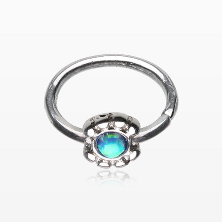 Fire Opal Flower Beads Bendable Twist Loop Ring-Blue