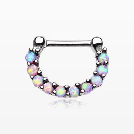 Fire Opal Princess Precia Steel Septum Clicker-Pink