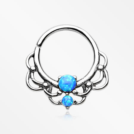 Lotus Lace Fire Opal Sparkle Septum Twist Loop Ring-Blue