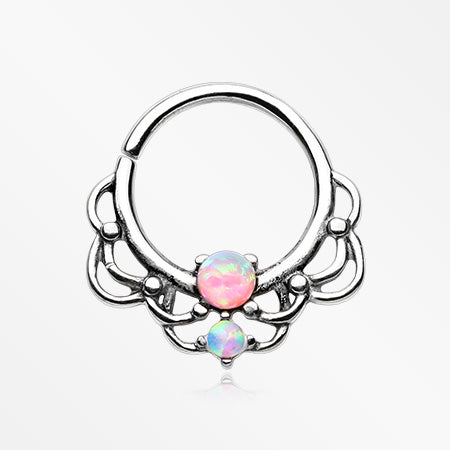 Lotus Lace Fire Opal Sparkle Septum Twist Loop Ring-Pink