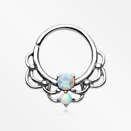 Lotus Lace Fire Opal Sparkle Septum Twist Loop Ring-White