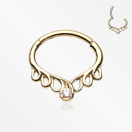 Golden Enchanted Vine Sparkle Seamless Clicker Hoop Ring-Clear