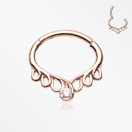 Rose Gold Enchanted Vine Sparkle Seamless Clicker Hoop Ring-Clear