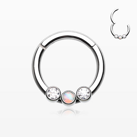 Fire Opal Sparkle Trio Seamless Clicker Ring-Clear/White