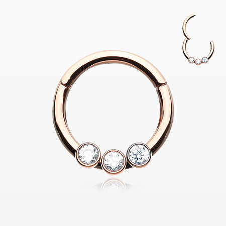 Rose Gold Sparkle Trio Seamless Clicker Ring-Clear