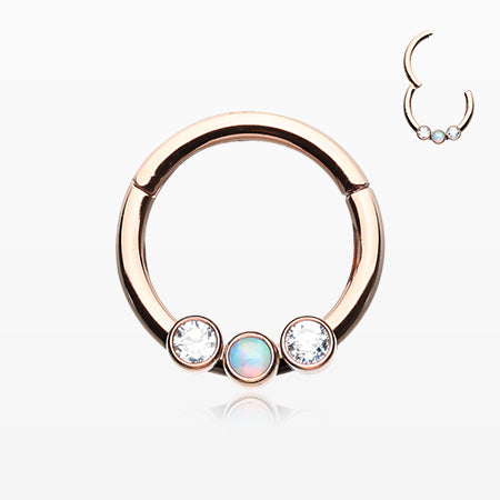 Rose Gold Fire Opal Sparkle Trio Seamless Clicker Ring-Clear/White
