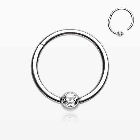 Captive Bead Ring Style Gem Ball Seamless Clicker Ring-Clear