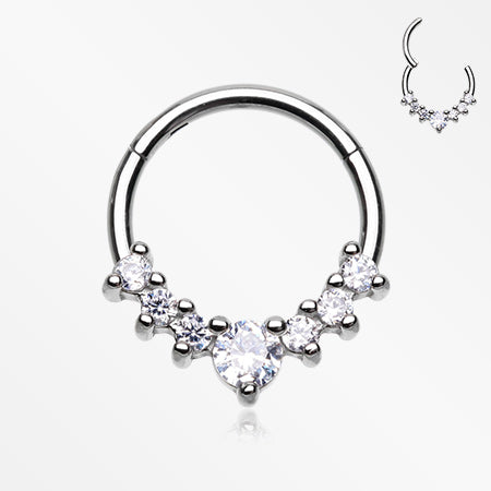 Brilliant Multi-Gem Prong Sparkles Seamless Clicker Ring