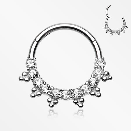Bali Ray Sparkle Seamless Clicker Hoop Ring-Clear