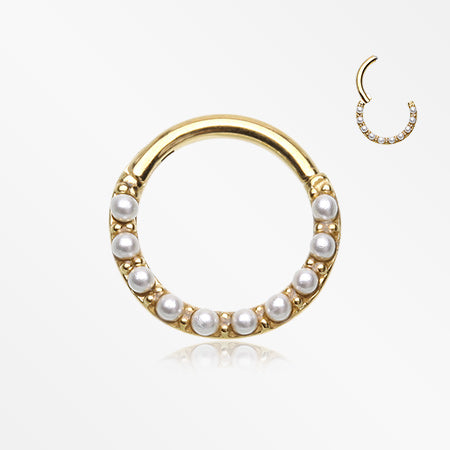 Golden Brilliant Pearlescent Front Clicker Hoop Ring