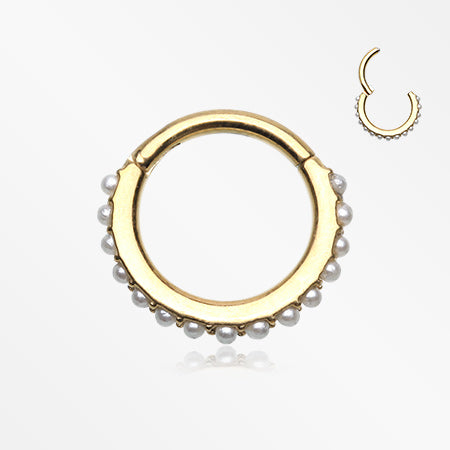 Golden Brilliant Pearlescent Lined Clicker Hoop Ring