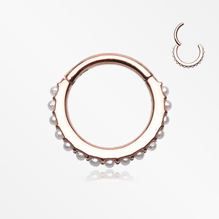 Rose Gold Brilliant Pearlescent Lined Clicker Hoop Ring