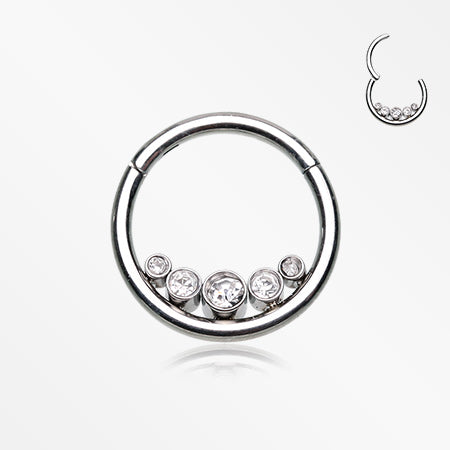 Divinity Sparkle Gems Seamless Clicker Hoop Ring-Clear