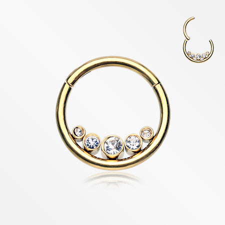 Golden Divinity Sparkle Gems Seamless Clicker Hoop Ring-Clear