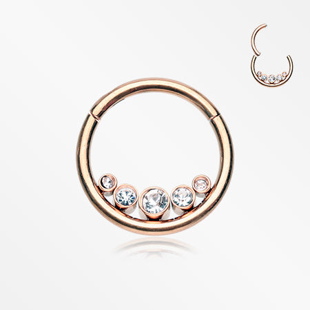 Rose Gold Divinity Sparkle Gems Seamless Clicker Hoop Ring-Clear