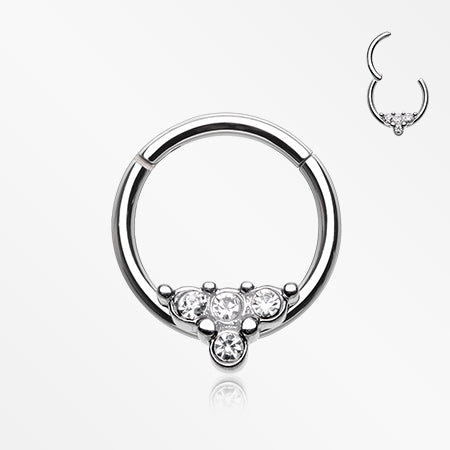 Eres Sparkles Seamless Clicker Hoop Ring-Clear